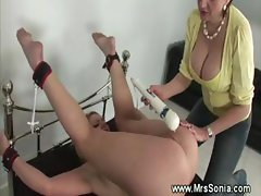 Mistress playing with blonds pussy