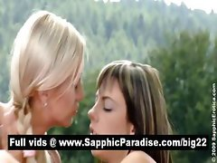Cute brunette and blonde lesbians fingering and clicking pussy