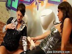 Bukkake loving lesbos love the gloryhole