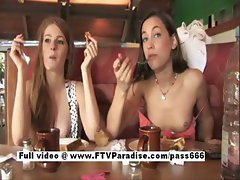 Faye and Larysa two amazing girls at the diner eating talking