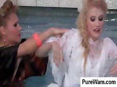 Bride gets in the pool and gets her ass spanked by her friend