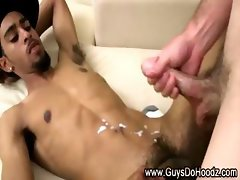 Double cumshot as black guy gets assfucked by white dude