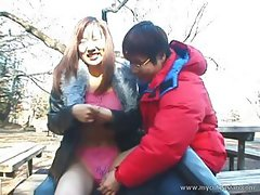Really wild outdoor Japanese teen blowjob!