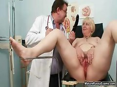 Blonde grandma gets her pussy examed part6