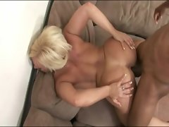 Filthy blondie filthy bitch having interracial sex at home