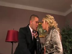 Raunchy clothed blond gets a mouthful