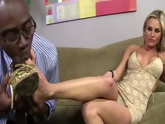 Foot fetish interracial enjoying bitch toes stroked