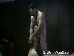 Rough gay bear banging and stroking gay sex