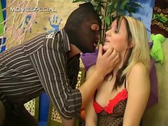 Blond tart blindfolded and stroking