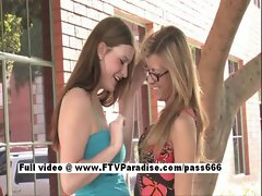 Leslie and Danielle from ftv slutty chicks have lesbo kissing and stroking nipples outdoor in public