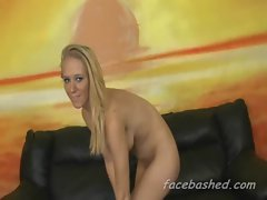 Blondie raunchy teen extreme mouth banged brutally by several men