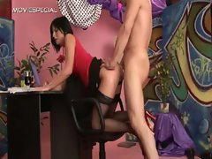 Whore in stockings gets pissed in her