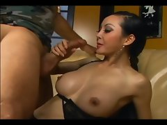 Bony long haired asian banging in ebony lingerie
