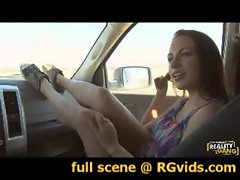 Blazing teen Nova Brooks banged in the car!! www.RGvids.com