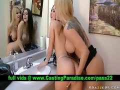 Angie Melissa attractive lezzies caressing and fingering