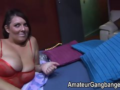 Orgy fun with plumper and buxom amateurs