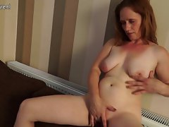 Alluring cheating wife getting lactating on her couch
