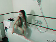 Thin barely legal teen posing in the bathroom and studio - 3D backstage