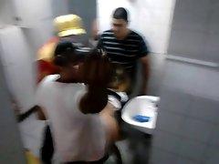 Amateur gangbang in public toilet