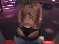 Blondie Stripper Butt Shaking and Gyrating