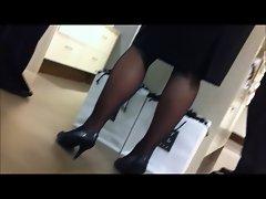 Cougar store supervisor legs voyeur