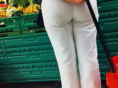 Bum voyeur 03 - See through white pants