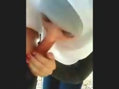 Lewd Outdoor Arab hijab Cock sucking