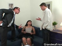 Two dudes bang huge titted experienced