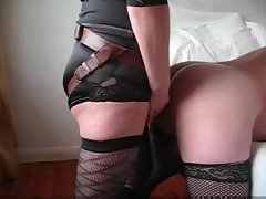 Husband accepts a huge dong up his bum from slutty wife