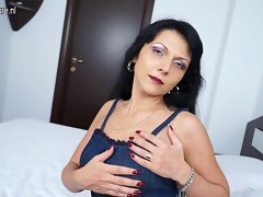Sensual mature whore stepmom playing with herself