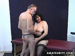 Aged amateur couple home play with cum on hooters