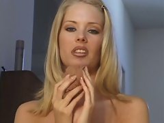 Blond in white JOI and CEI with multiple cum