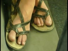 candid feet in the bus