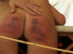 HC8 Caned Slutty wife Rough Caning Crying