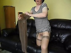 Glossy pantyhose,nylons and rubber toy