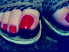 Long red toenails 3