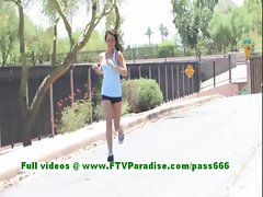 Brianne awesome brunette woman works out and flashing tits and ass
