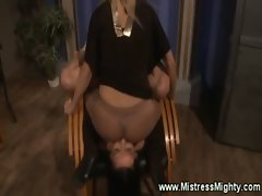 Mistress dishes out lezdom punishment