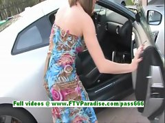 Lidia stunning brunette girl toying pussy in a car with a vibrator