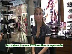 Capri amazing brunette girl public flashing tits