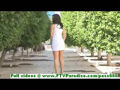 Madeline angelic brunette getting naked outdoor and stuffing panties