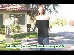 Hayden brunette cute brunette flashing tits outdoor and posing