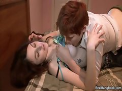 Tattooed lesbian babe gets her pussy