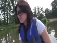 Naughty chick pussy stuffed and blowjobs on boat for money