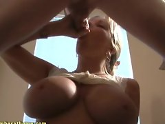 Big tit amber milks cock