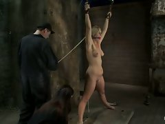 Slutty blonde slut gets tied down and manhandled by her boyfriend