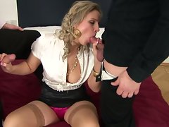 Voluptuous slut gets her mouth crammed with cock