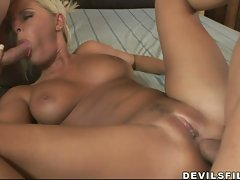 The hungry hairless pussy of Riley Evans gets thumped until she is satisfied
