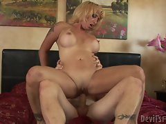 Rampant milf bounces her twat on a hard fuck shaft