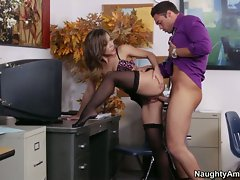 Kristina Rose taking it deep from rear in the office